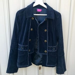 BCBGirls Blue Jacket Cost Button Down Front Size M